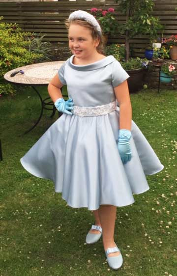 Child's bridesmaid dress in blue by Jalpene